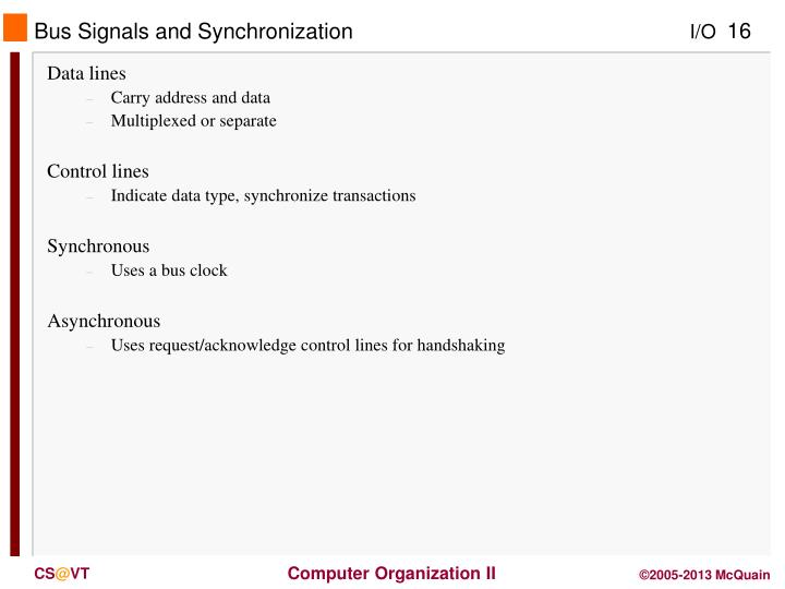 Bus Signals and Synchronization