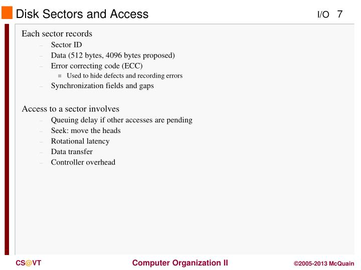 Disk Sectors and Access