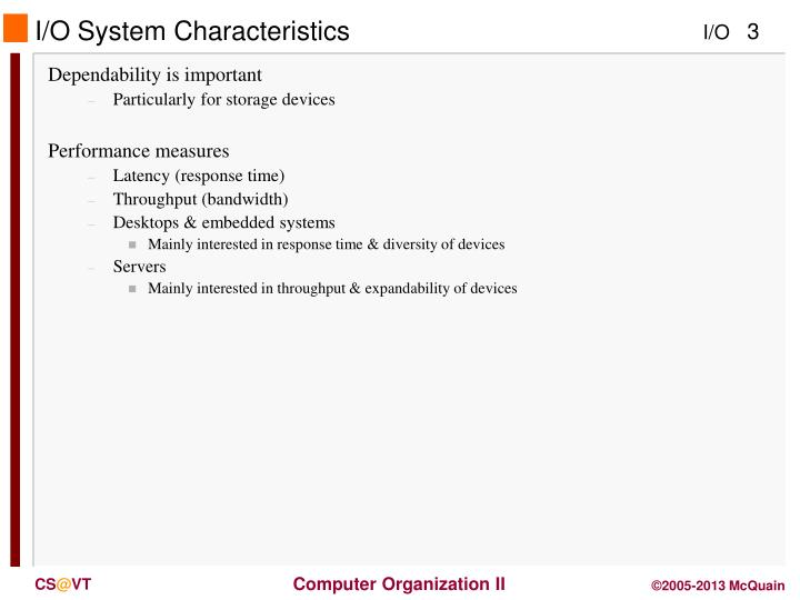 I o system characteristics