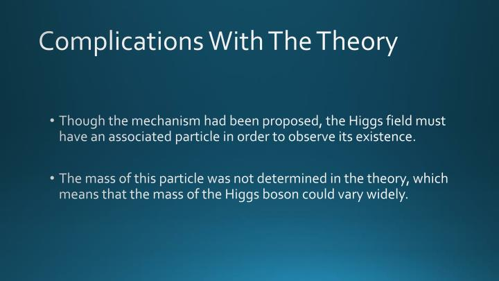 Complications With The Theory
