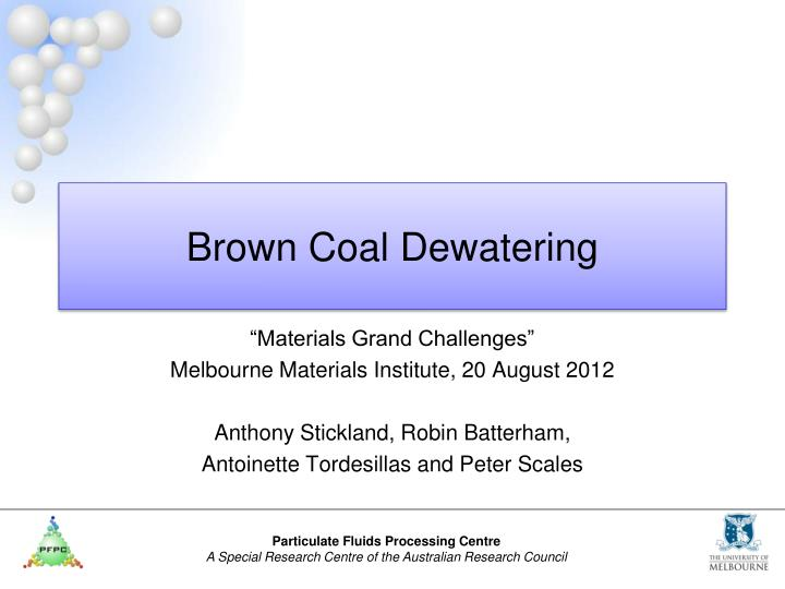 Brown coal dewatering