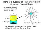 here is a suspension water droplets dispersed in an oil layer