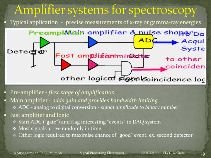 Amplifier systems for spectroscopy