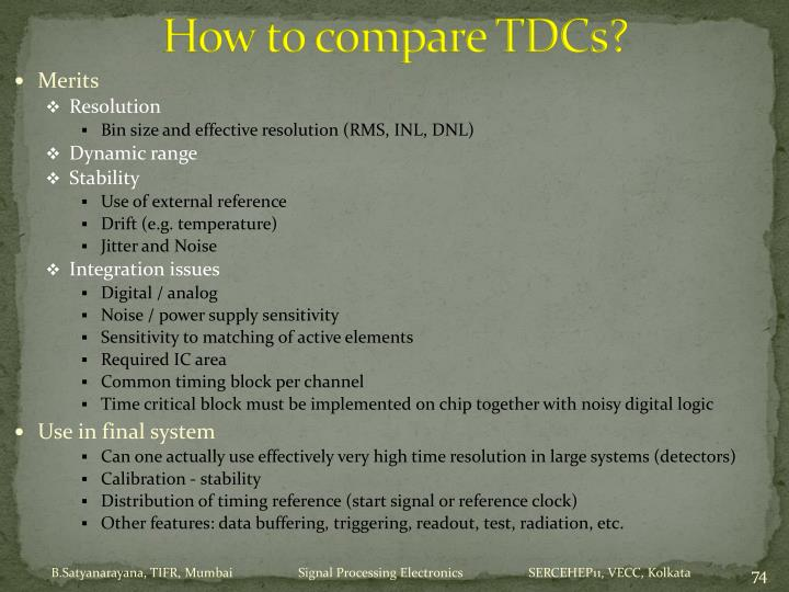 How to compare TDCs?
