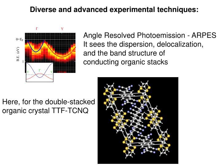 Diverse and advanced experimental techniques: