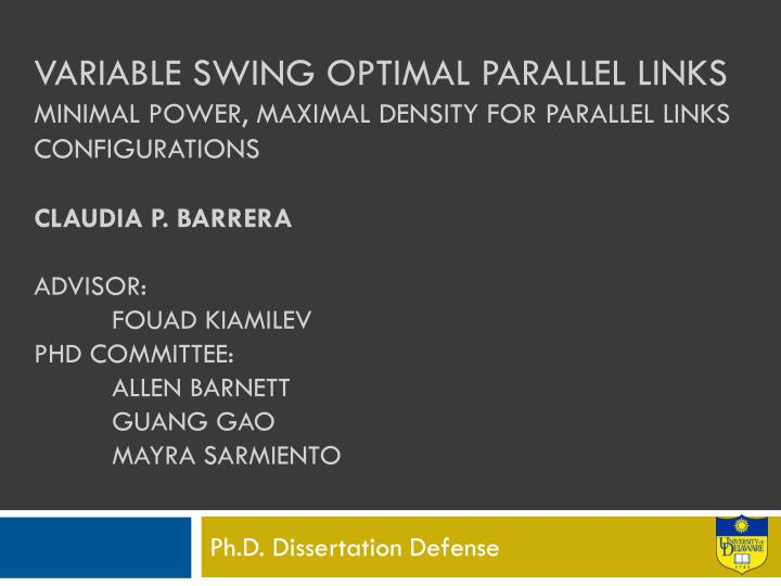 Ph d dissertation defense