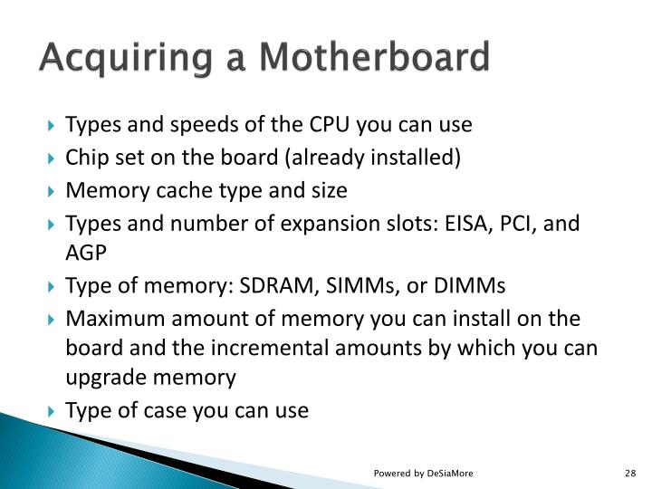 Acquiring a Motherboard