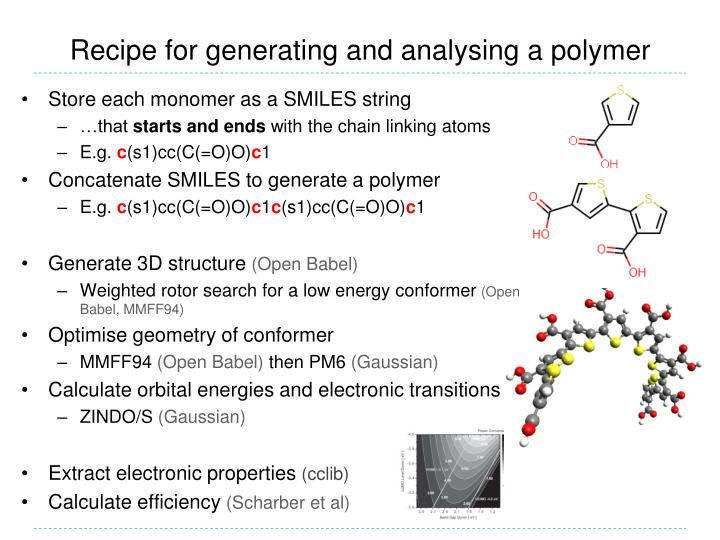 Recipe for generating and analysing a polymer