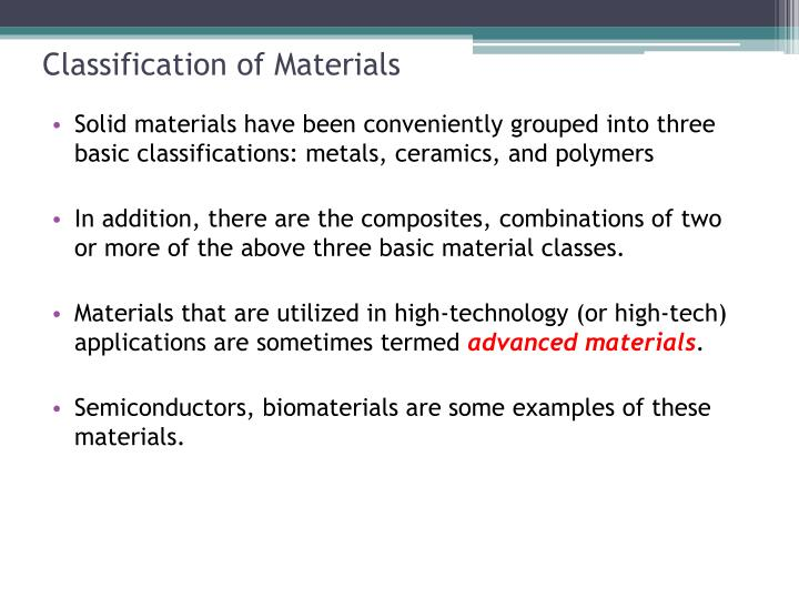Classification of materials