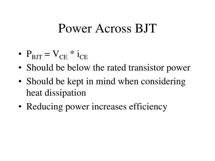 Power Across BJT