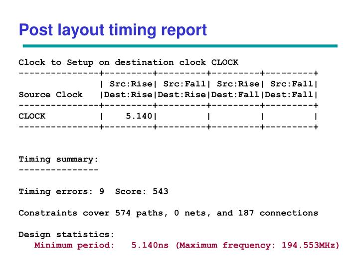 Post layout timing report