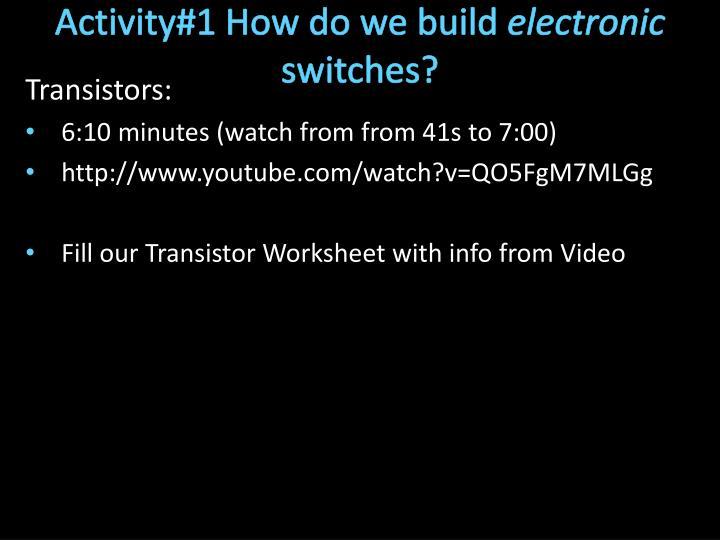 Activity#1 How do we build