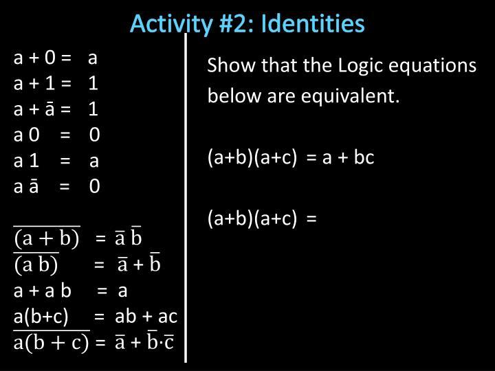 Activity #2: Identities