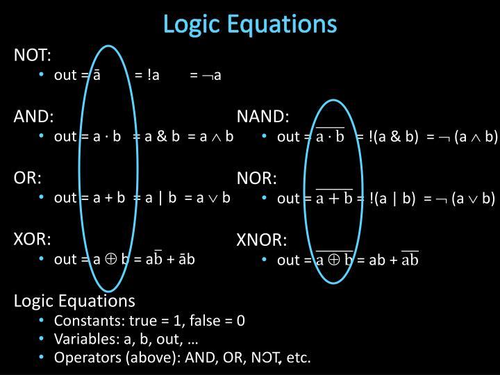Logic Equations