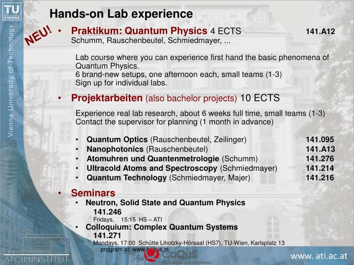 Hands-on Lab experience