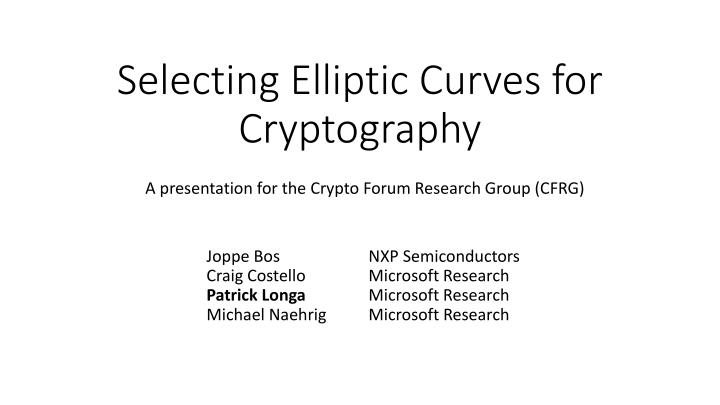 selecting elliptic curves for cryptography n.