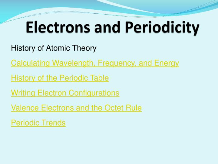 electrons and periodicity n.