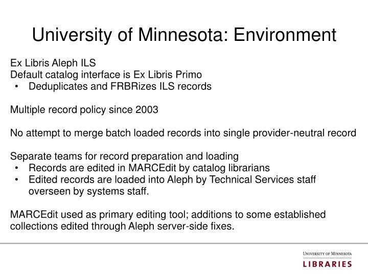 University of minnesota environment