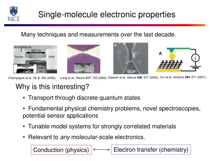 Single molecule electronic properties