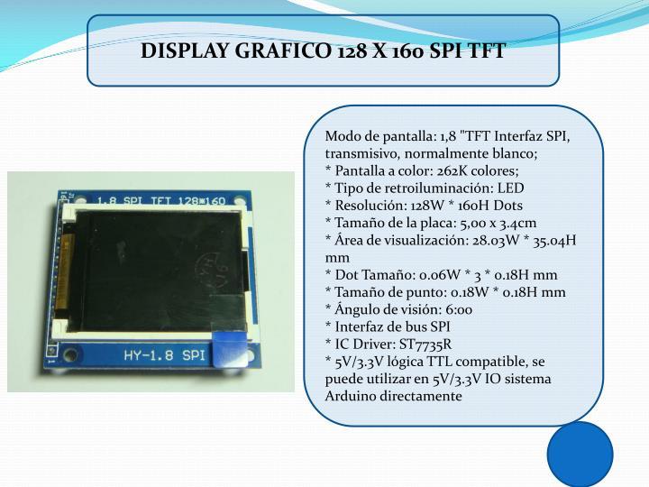 DISPLAY GRAFICO 128 X 160 SPI TFT