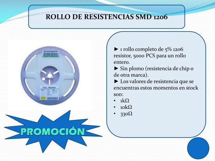 Rollo de resistencias smd 1206