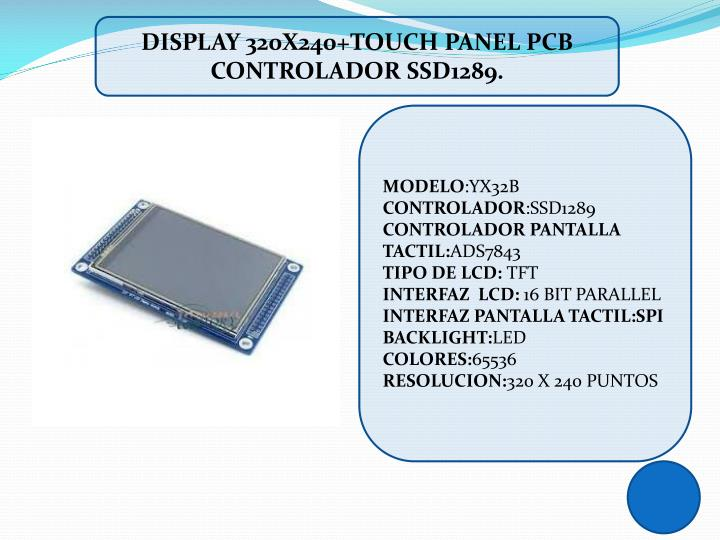 DISPLAY 320X240+TOUCH PANEL PCB CONTROLADOR