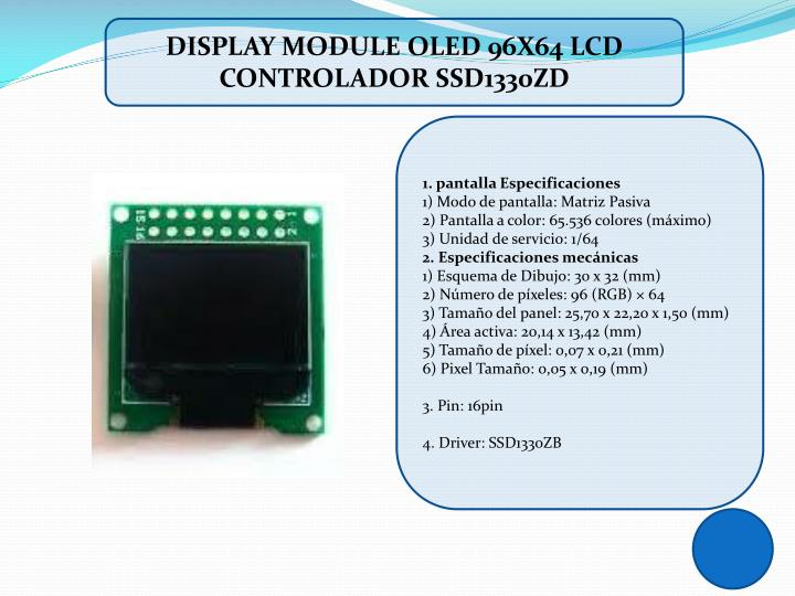DISPLAY MODULE OLED 96X64 LCD CONTROLADOR SSD1330ZD