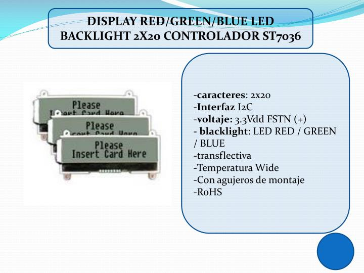 DISPLAY RED/GREEN/BLUE LED BACKLIGHT 2X20 CONTROLADOR ST7036