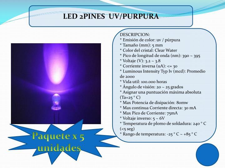 LED 2PINES  UV/PURPURA