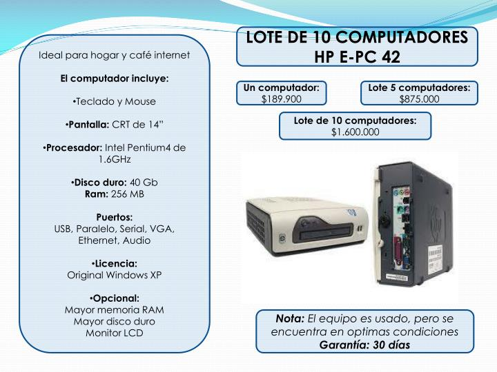 LOTE DE 10 COMPUTADORES  HP E-PC 42