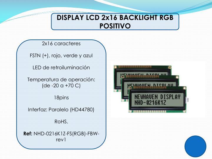 DISPLAY LCD 2x16 BACKLIGHT RGB POSITIVO