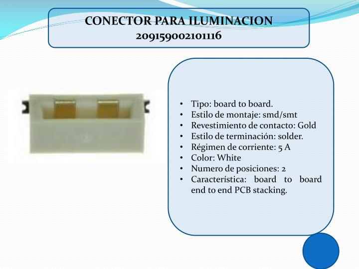 CONECTOR PARA ILUMINACION 209159002101116