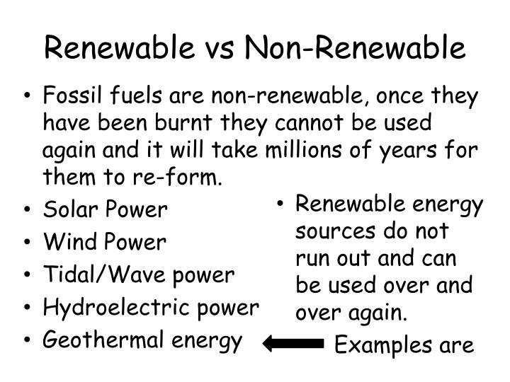 Renewable vs non renewable