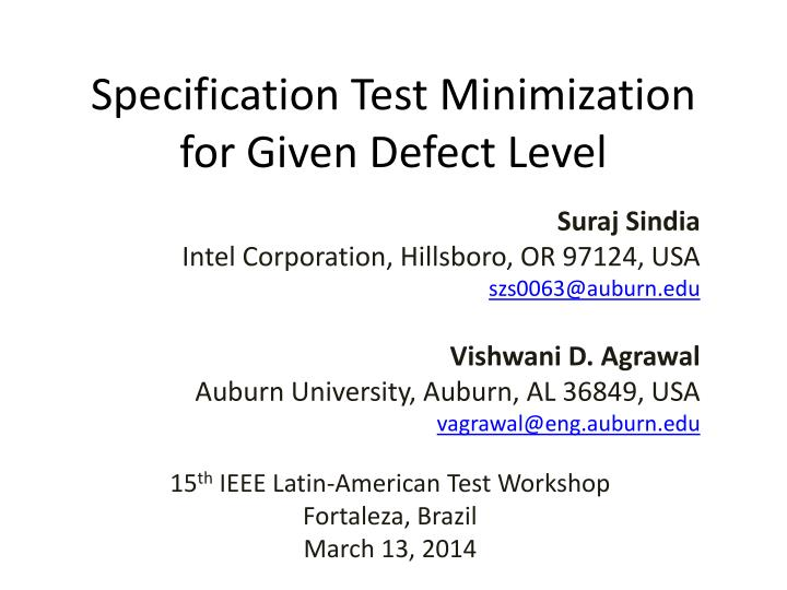 specification test minimization for given defect level n.