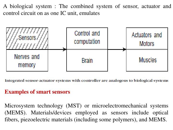 A biological system : The combined system of sensor, actuator and control circuit on as one IC unit, emulates