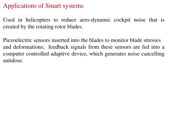 Applications of Smart systems