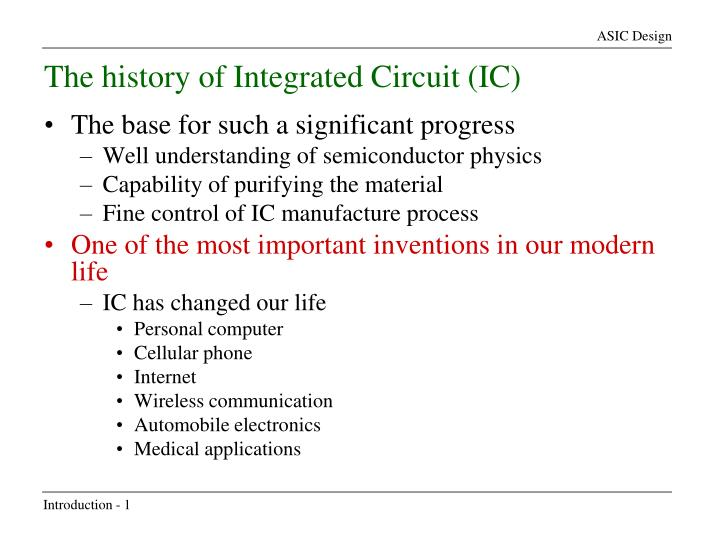 The history of Integrated Circuit (IC)
