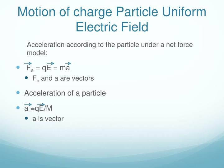 Motion of charge Particle Uniform Electric Field