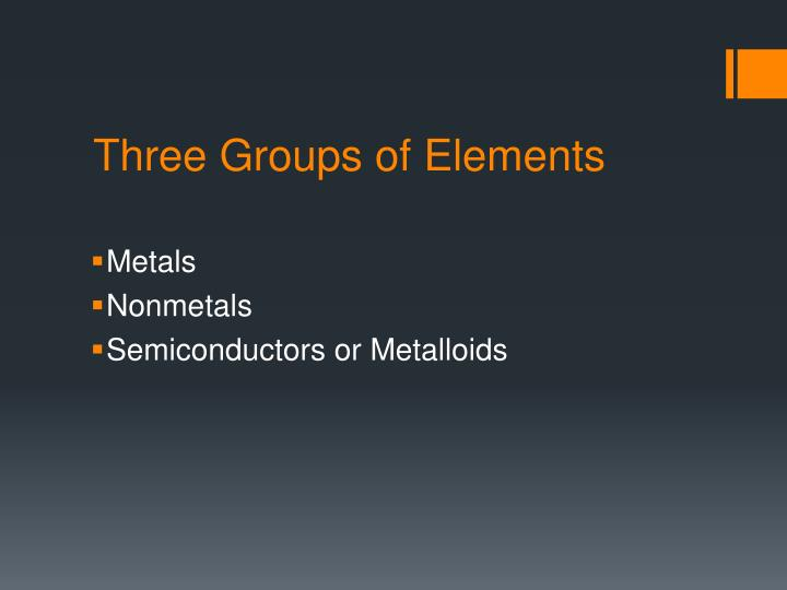 Three groups of elements