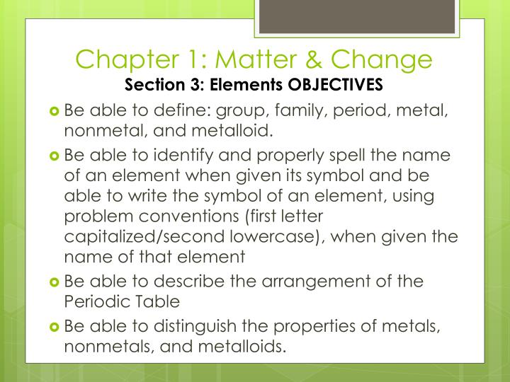Chapter 1 matter change section 3 elements objectives