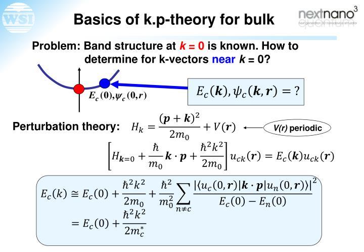 Basics of k.p-theory for bulk