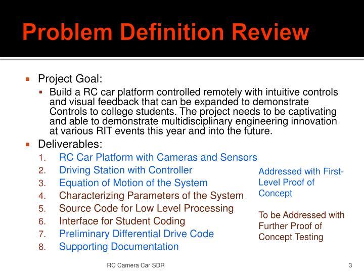 Problem definition review