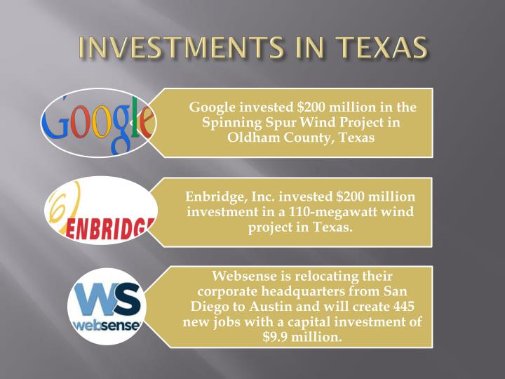 INVESTMENTS IN TEXAS