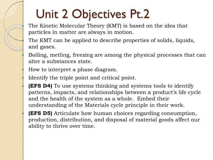 Unit 2 objectives pt 2