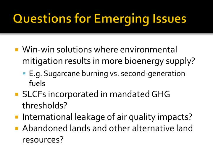 Questions for Emerging Issues