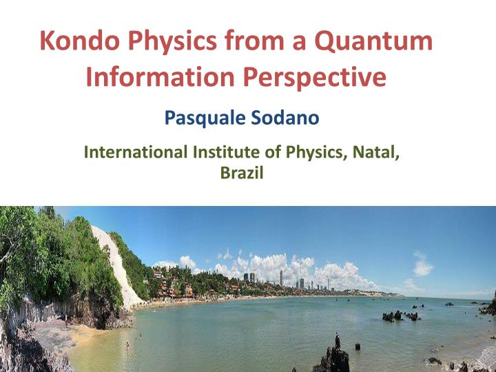 kondo physics from a quantum information perspective n.