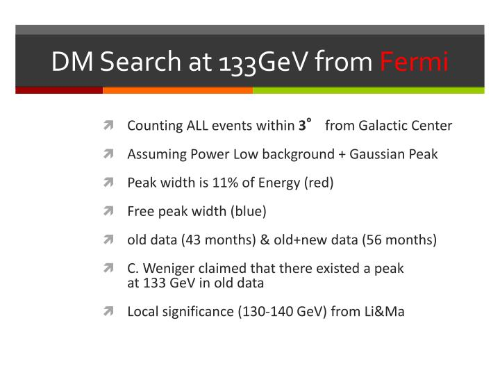 DM Search at 133GeV from
