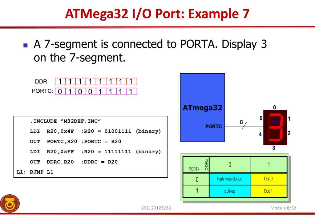 PPT - AVR ATMega32 Elementary Input / Output PowerPoint
