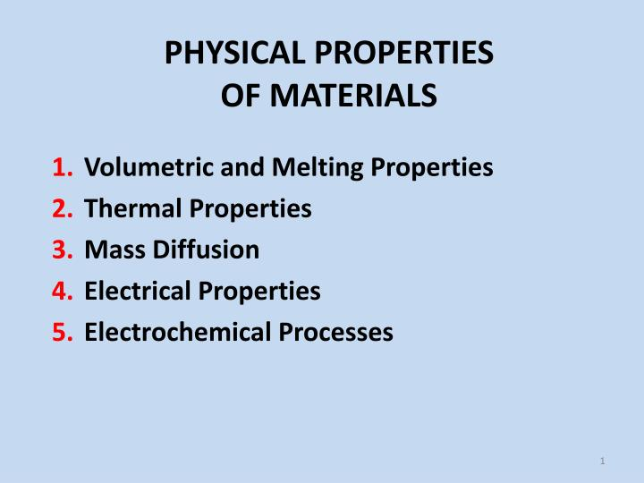 PPT - PHYSICAL PROPERTIES OF MATERIALS PowerPoint Presentation - ID