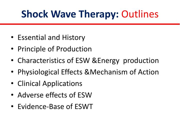 Shock wave therapy outlines